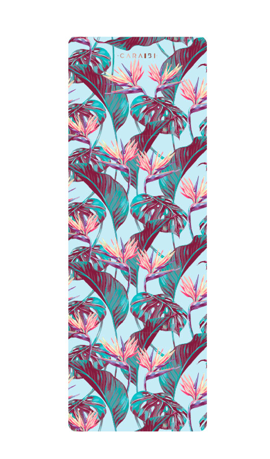 premium yoga mat caribean summer flowers